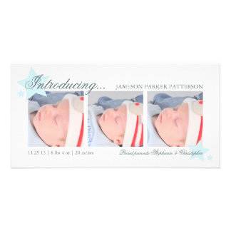 Blue Stars Baby Boy 3 Photo Birth Announcement Photo Card