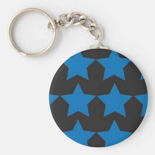 Blue Stars Basic Round Button Key Ring