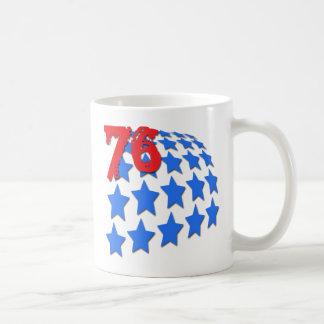 BLUE STARS & GRUNGE STYLE NUMBER 76 BASIC WHITE MUG