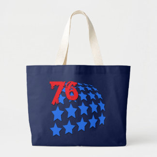 BLUE STARS & GRUNGE STYLE NUMBER 76 LARGE TOTE BAG