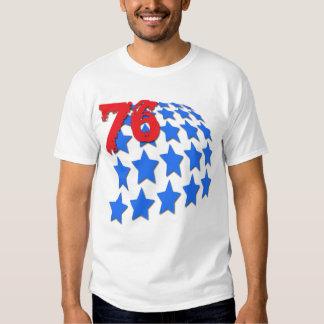 BLUE STARS & GRUNGE STYLE NUMBER 76 T SHIRT