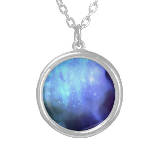 Blue stars in space silver plated necklace