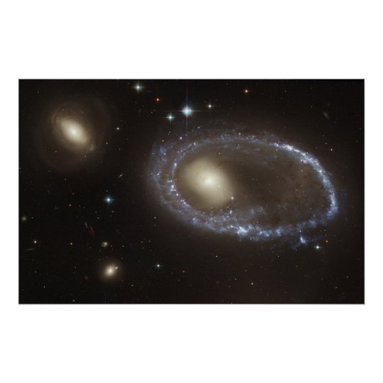 Blue Stars Ring Nucleus of Galaxy AM 0644-741 Poster