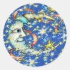 Blue Stars Sun and Moon Design Classic Round Sticker