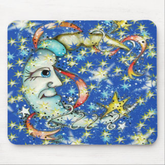 Blue Stars Sun and Moon Design Mouse Pad