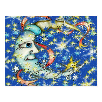 Blue Stars Sun and Moon Design Post Cards