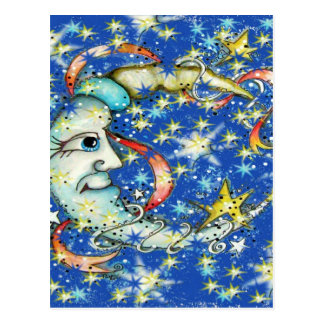 Blue Stars Sun and Moon Design Postcard