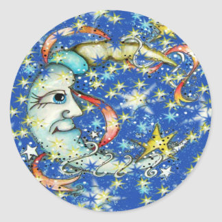 Blue Stars Sun and Moon Design Round Sticker