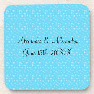 Blue stars wedding favors drink coasters