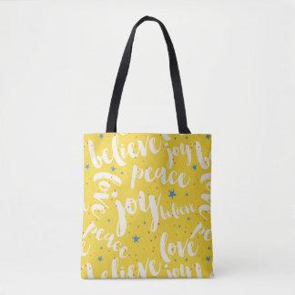 Blue Stars White Text Design Tote Bag