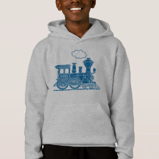 Blue steam locomotive train your name boys hoodie