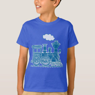 "Blue steam locomotive train ""your name"" t-shirt"