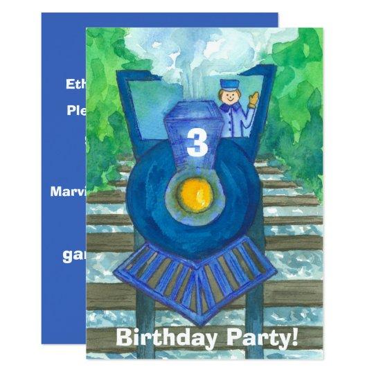 Blue Steam Train 3rd Birthday Party Invitation