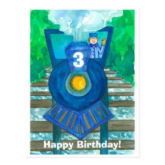 Blue  Steam Train Happy Third Birthday Postcard