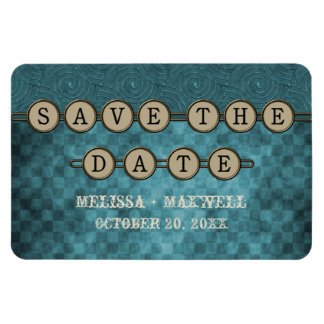 Blue Steampunk Keys Save the Date Flexi Magnet