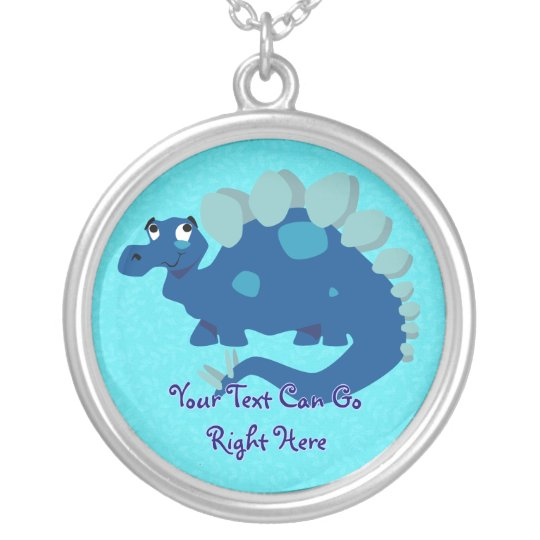 Blue Stegosaurus Necklace