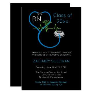 Blue Stethoscope EKG Nursing Graduation Party 13 Cm X 18 Cm Invitation Card