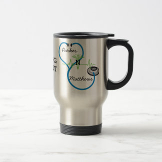 Blue Stethoscope Nursing Student Caduceus Name Travel Mug
