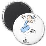 Blue Stick Figure Girl Skater Magnet