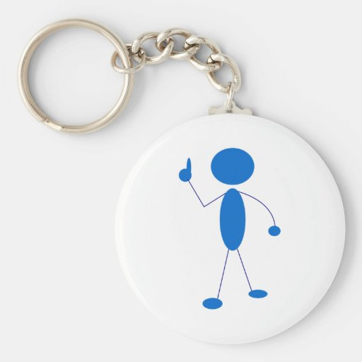 Blue Stick Figure Number One Key Chain