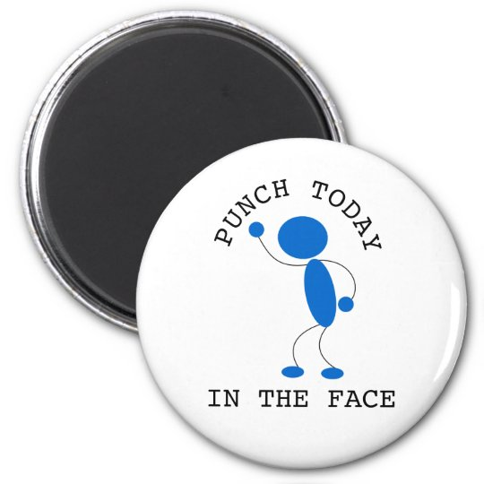 Blue Stick Man: Punch Today In The Face 6 Cm Round Magnet