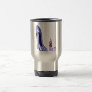 Blue Stiletto Shoe and Lipstick Art Stainless Steel Travel Mug