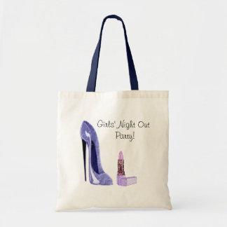 Blue Stiletto Shoe and Lipstick Art Tote Bag