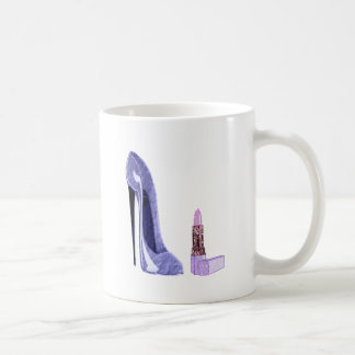 Blue Stiletto Shoe and Lipstick Coffee Mug