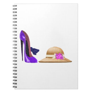 Blue Stiletto Shoes and Hat Art Spiral Note Books