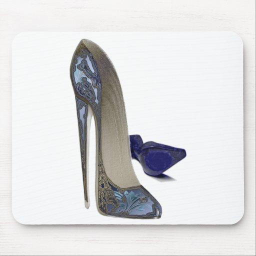 Blue Stiletto Shoes Art Mouse Mat