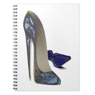 Blue Stiletto Shoes Art Note Book