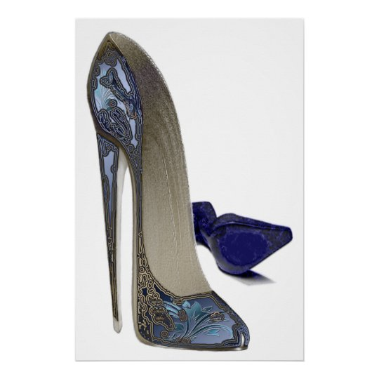 Blue Stiletto Shoes Art Poster