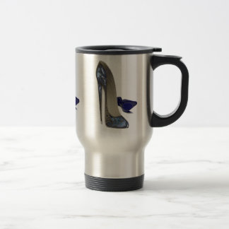 Blue Stiletto Shoes Art Travel Mug