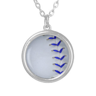 Blue Stitches Baseball / Softball Silver Plated Necklace