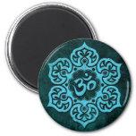 Blue Stone Floral Om 6 Cm Round Magnet
