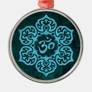 Blue Stone Floral Om Christmas Ornament
