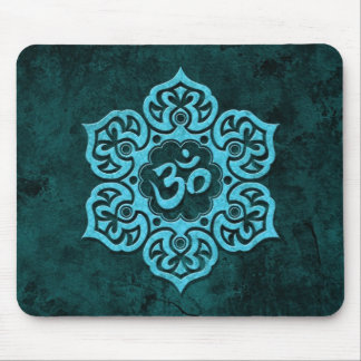 Blue Stone Floral Om Mouse Pad