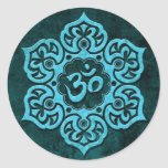 Blue Stone Floral Om Round Stickers