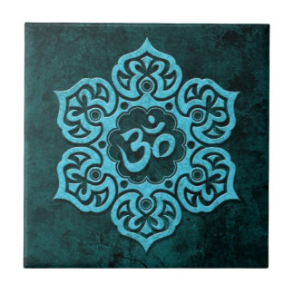 Blue Stone Floral Om Small Square Tile