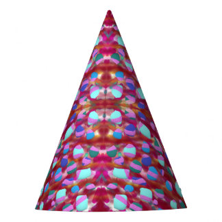 blue stones on red party hat