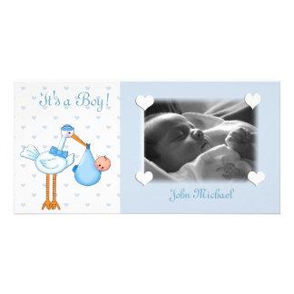 Blue Stork Baby Boy Photo Greeting Card