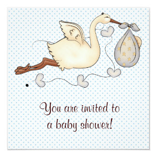 Blue Stork Baby Boy Shower Card