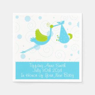 Blue Stork Boy Baby Shower Party Napkins Paper Napkins