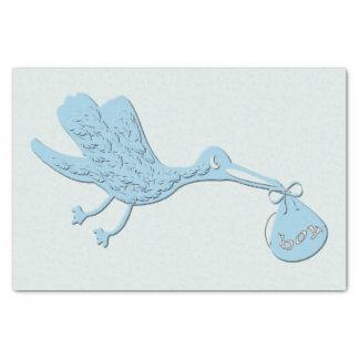 Blue Stork Delivering Boy Tissue Paper