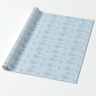 Blue Stork Delivering Boy Wrapping Paper