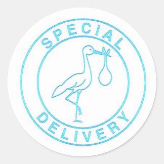 Blue Stork Round Sticker