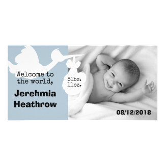Blue Stork Welcome To The World Baby Arrival Card Customized Photo Card