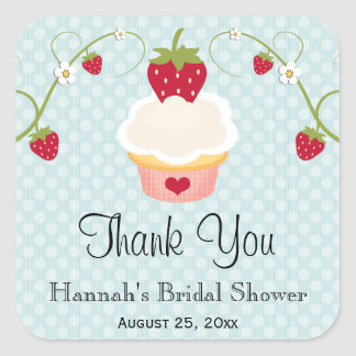 Blue Strawberry Cupcake Favor Labels Stickers