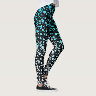 Blue Street Art Splatter Graffiti 90s Paint Leggings