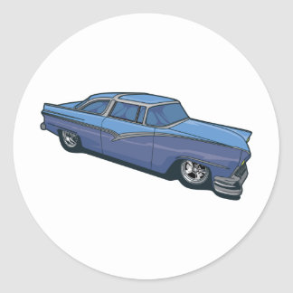 Blue Street Rod Round Sticker